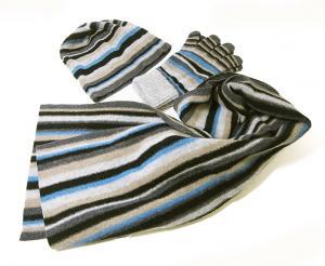 No.5 マフラー 手袋 帽子 セット メンズ ギフト (グレー)