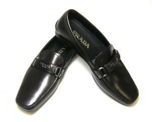 プラダ 靴 メンズ レザーシューズ (ブラック)6サイズ(日本サイズ約25cm)