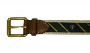 No.3 ベルト メンズ コットンキャンバス 紋章 グリーン 38インチ(95cm)