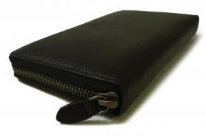 No.4 長財布 ラウンドファスナー (ブラック) *大きめサイズ