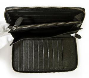 No.7 長財布 ラウンドファスナー (ブラック) *大きめサイズ