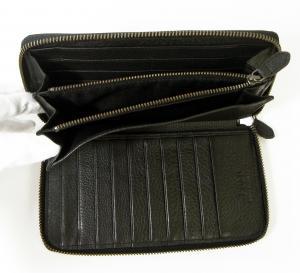 No.8 長財布 ラウンドファスナー (ブラック) *大きめサイズ