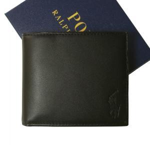 ラルフ ローレン 財布 メンズ 二つ折 (ブラック)