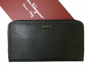 サルヴァトーレフェラガモ 長財布 ラウンドファスナー (ブラック)*大きめサイズ