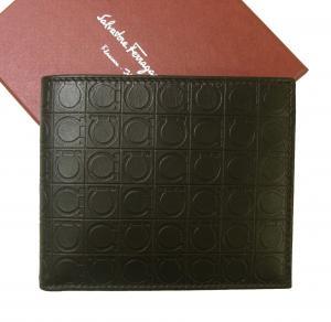 サルヴァトーレフェラガモ 財布 メンズ バイカラー ガンチーニモノグラム 二つ折(カフェ)