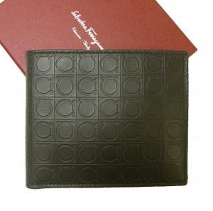 サルヴァトーレフェラガモ 財布 バイカラー ガンチーニモノグラム 二つ折(ダークレイン)