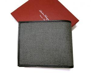 No.2 PVC×ガンチーニモノグラムレザー 二つ折財布(グリジオ)