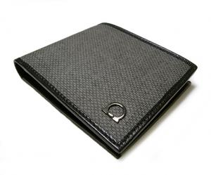 No.3 PVC×ガンチーニモノグラムレザー 二つ折財布(グリジオ)