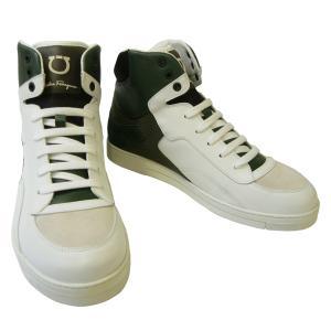 No.2 スニーカー  靴 メンズ ハイカット レザー (ホワイト×グリーン)