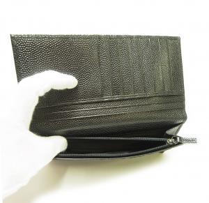No.4 長財布 メンズ 二つ折 カーフ カード大容量 (ブラック)