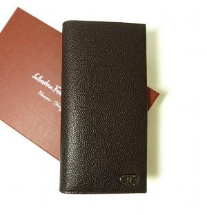 サルヴァトーレフェラガモ 長財布 メンズ 二つ折 カーフ カード大容量(チョコレート)