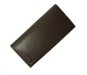 No.6 長財布 メンズ 二つ折 カーフ カード大容量(チョコレート)