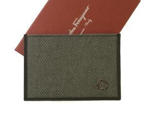 サルヴァトーレフェラガモ 名刺入れ カードケース PVC×ガンチーニ モノグラム レザー