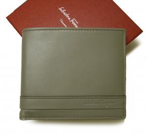 サルヴァトーレフェラガモ 財布 メンズ カーフレザー 二つ折 (ケルティックグレー)