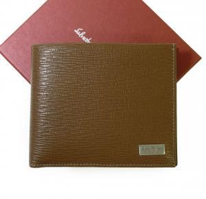サルヴァトーレフェラガモ 財布 メンズ ペブルカーフ 二つ折 (ブラウン)