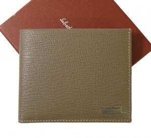サルヴァトーレフェラガモ 財布 メンズ ペブルカーフ 二つ折 (くるみ色)