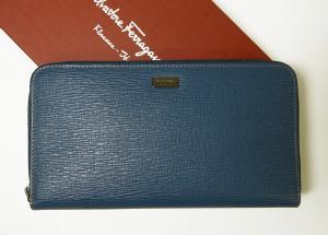 サルヴァトーレフェラガモ 長財布 ラウンドファスナー ペブルカーフ トラベル*大きめサイズ