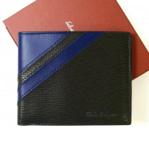 サルヴァトーレフェラガモ 財布 メンズ 札入れ 二つ折り (ブラック)*小銭入れなし