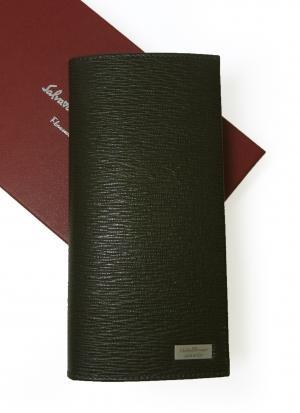 サルヴァトーレフェラガモ 長財布 メンズ ペブルカーフ 二つ折 (ダークグレー×ブルー)