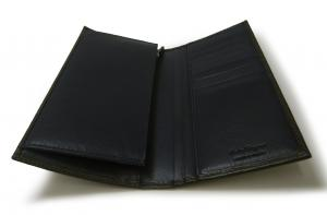No.4 長財布 メンズ ペブルカーフ 二つ折 (ダークグレー×ブルー)