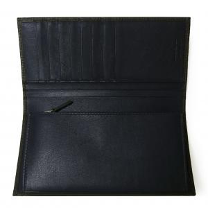 No.5 長財布 メンズ ペブルカーフ 二つ折 (ダークグレー×ブルー)