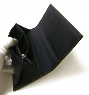 No.6 長財布 メンズ ペブルカーフ 二つ折 (ダークグレー×ブルー)