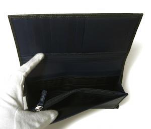 No.7 長財布 メンズ ペブルカーフ 二つ折 (ダークグレー×ブルー)