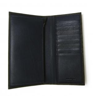 No.8 長財布 メンズ ペブルカーフ 二つ折 (ダークグレー×ブルー)