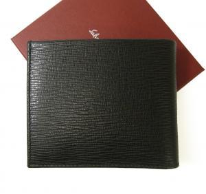 No.2 財布 二つ折 型押し ペブルカーフ(ブラック×レッド)