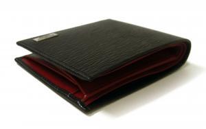 No.3 財布 二つ折 型押し ペブルカーフ(ブラック×レッド)