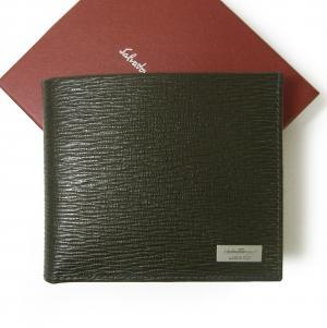 サルヴァトーレフェラガモ 財布 二つ折 型押し ペブルカーフ(ダークグレー×ブルー)