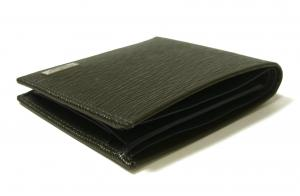 No.3 財布 二つ折 型押し ペブルカーフ(ダークグレー×ブルー)