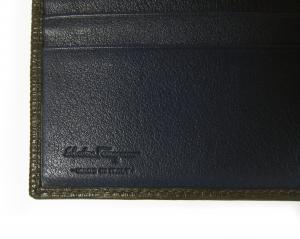 No.6 財布 二つ折 型押し ペブルカーフ(ダークグレー×ブルー)
