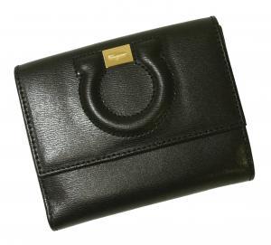 No.7 財布 ガンチーニロゴエンボス 二つ折(ブラック)