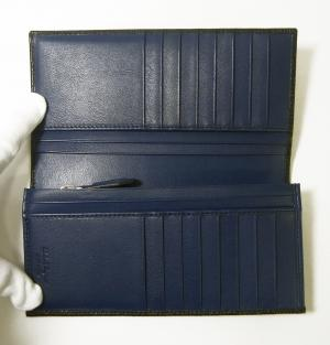 No.4 長財布 メンズ カード大容量(ブラック×フィヨルドブルー)