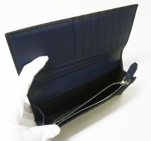 No.6 長財布 メンズ カード大容量(ブラック×フィヨルドブルー)