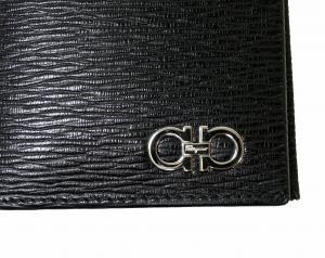 No.7 長財布 メンズ カード大容量(ブラック×フィヨルドブルー)