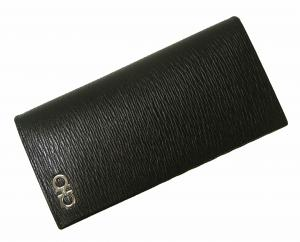 No.8 長財布 メンズ カード大容量(ブラック×フィヨルドブルー)