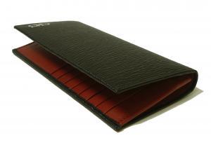 No.3 長財布 メンズ カード大容量(ブラック×レッド)
