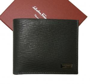 サルヴァトーレフェラガモ 財布 二つ折 札入れ (ブラック) *小銭入れ無し