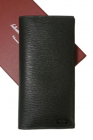サルヴァトーレフェラガモ 長札 長財布 メンズ ペブルカーフ(ブラック) *小銭入れなし