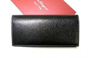 No.2 長財布 メンズ ペブルカーフ 二つ折 (ブラック)