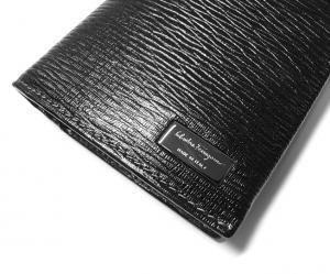 No.3 長財布 メンズ ペブルカーフ 二つ折 (ブラック)