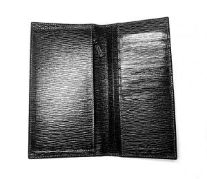 No.4 長財布 メンズ ペブルカーフ 二つ折 (ブラック)