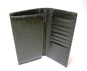 No.5 長財布 メンズ ペブルカーフ 二つ折 (ブラック)