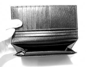 No.6 長財布 メンズ ペブルカーフ 二つ折 (ブラック)