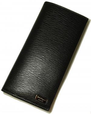 No.7 長財布 メンズ ペブルカーフ 二つ折 (ブラック)
