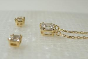 No.5 ネックレス ペンダント ピアス セット Attract Square