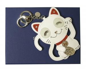 スワロフスキー バッグチャーム キーホルダー キーリング  Cat 招き猫 ネコ