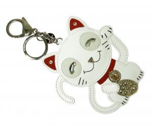 No.5 バッグチャーム キーホルダー キーリング  Cat 招き猫 ネコ
